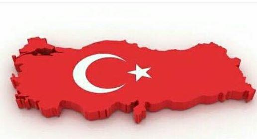 تركيا علم خريطة